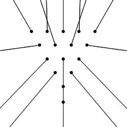 Траектория разлета шаров при центральном разбиении пирамиды.